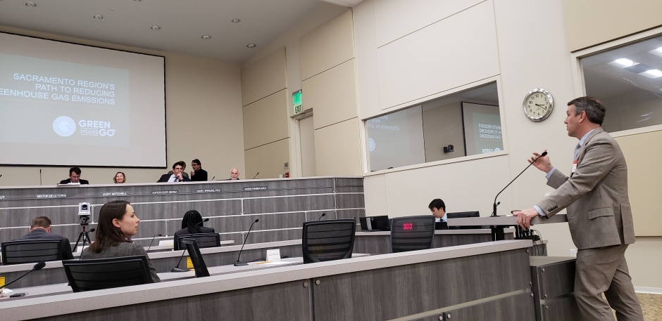 SACOG  Executive Director James Corless addresses the California Air Resources Board  on February 21, 2019.
