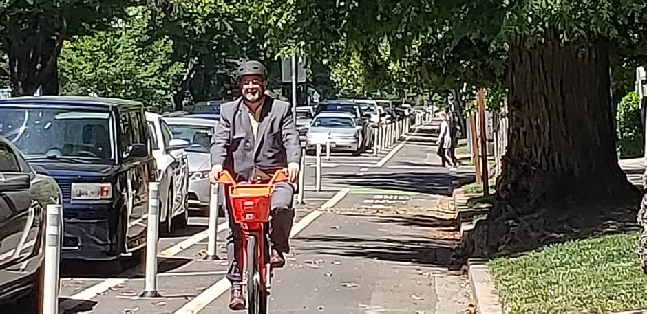 Matthew Hargrove says bike infrastructure makes it easier to use JUMP bikes.