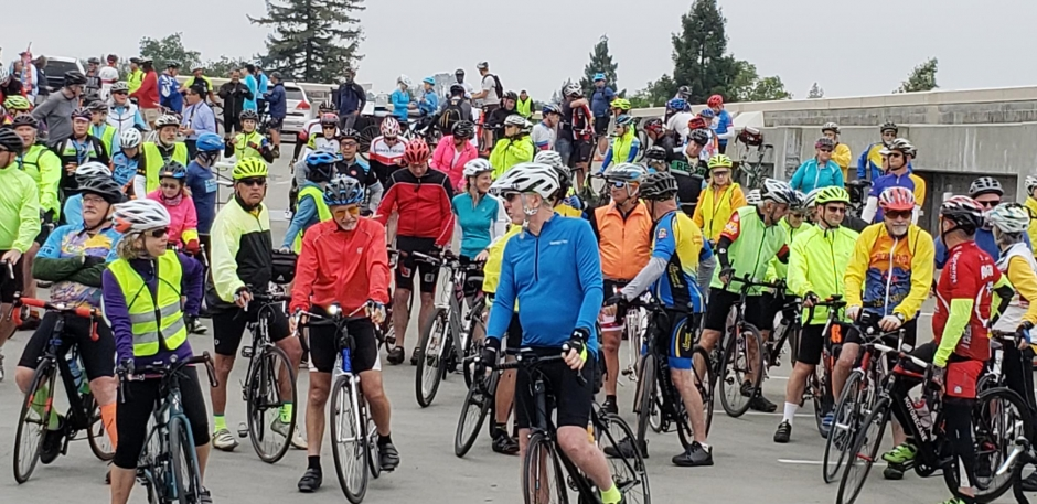 Cyclists get ready to roll from the top of the parking lot in Historic Folsom for the Mayors' Ride.