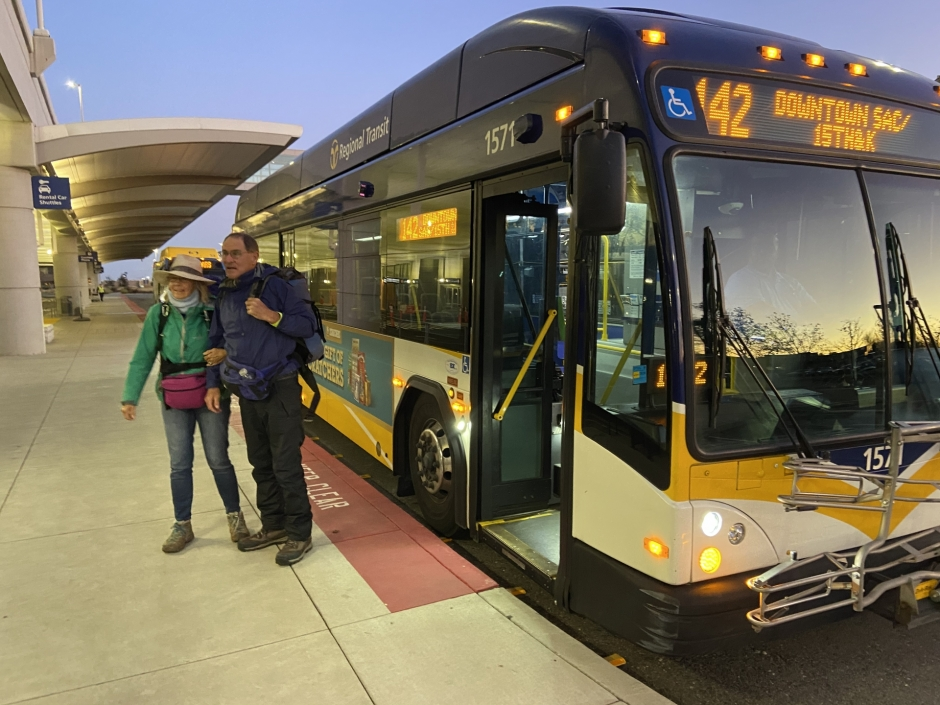 Riders on the new Airport Express service arrive at Sacramento International Airport.