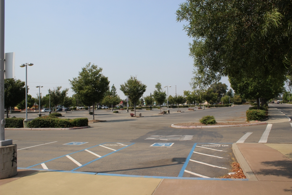 An almost empty parking lot at the Florin light rail station.