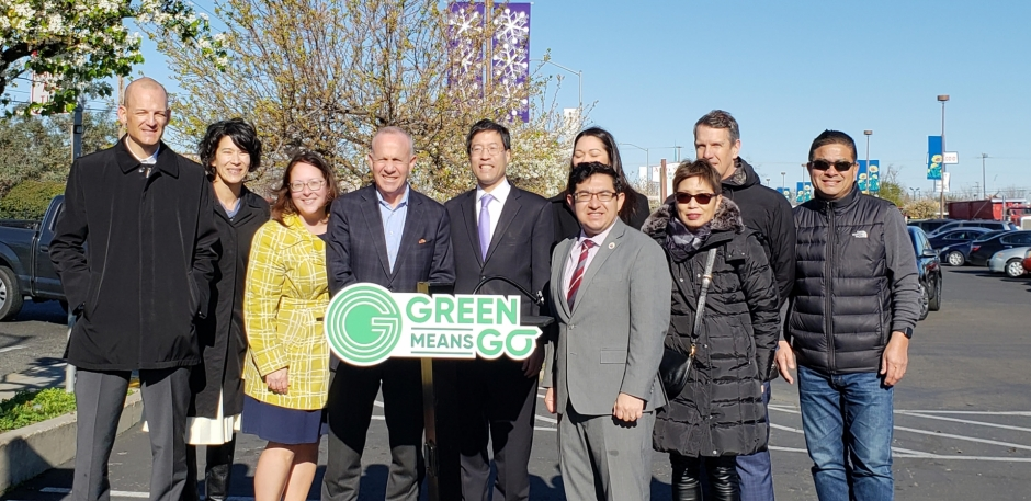Supporters of Green Means Go at the program's public launch. From left: Assemblymember Kevin McCarty, SACOG Deputy Executive Director Kacey Lizon, SACOG Policy Manager Christina Lokke, Sacramento Mayor Darrell Steinberg, State Senator Dr. Richard Pan, Councilmember Eric Guerra, Planning and Design Commissioner Kendra Reed, Sacramento Asian Pacific Chamber of Commerce CEO Pat Fong Kushida, SACOG Executive Director James Corless, and Stockton Boulevard Partnership Executive Director Frank Louie.