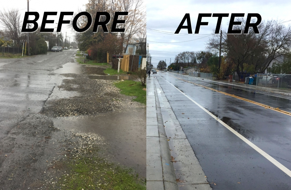 7th Avenue in Olivehurst, seen before and after recent street improvements.