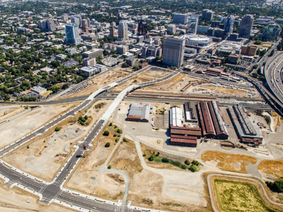 An aerial image of the Railyards site  in downtown Sacramento.
