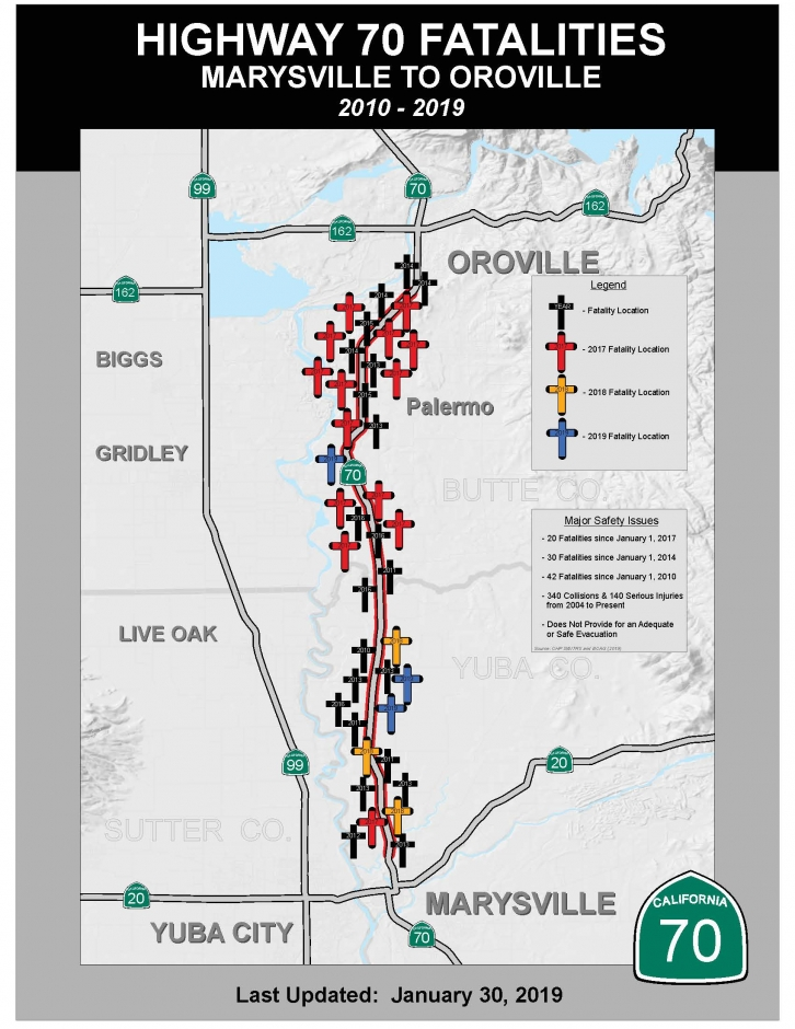 Sites of fatalities along Highway 70. Source: Caltrans