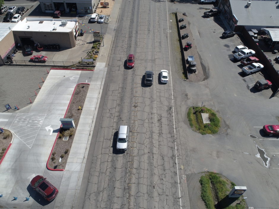 An aerial view shows sidewalk and curb improvements on Woodland's West Main Street.